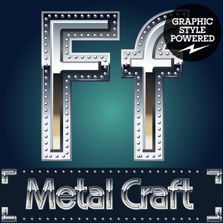riveted: Vector set of metal aluminum alphabet with riveted border. Letter F Illustration