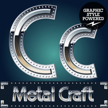 Vector set of metal aluminum alphabet with riveted border. Letter C