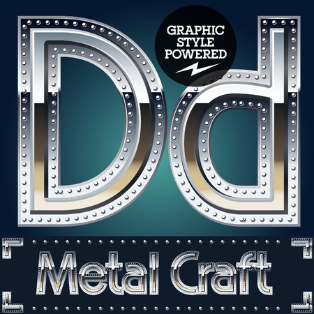 riveted metal: Vector set of metal aluminum alphabet with riveted border. Letter D