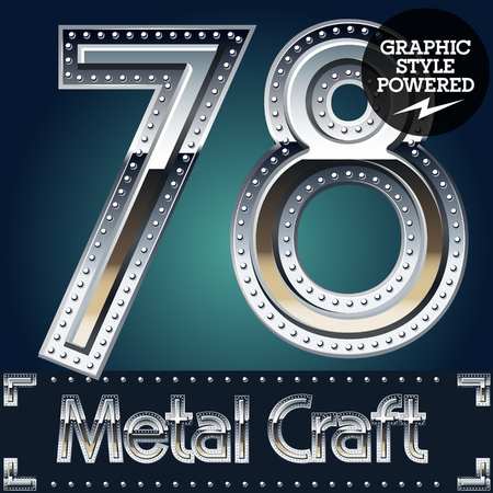 riveted metal: Vector set of metal aluminum alphabet with riveted border. Numbers  7 8 Illustration