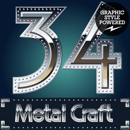 riveted: Vector set of metal aluminum alphabet with riveted border. Numbers 3 4 Illustration