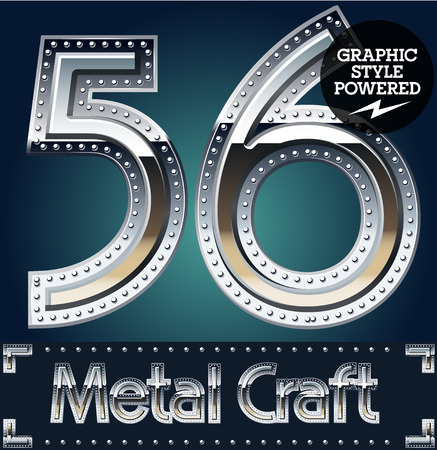 riveted metal: Vector set of metal aluminum alphabet with riveted border. Numbers  5 6 Illustration
