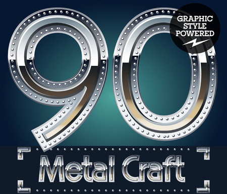 Vector set of metal aluminum alphabet with riveted border. Numbers  9 0