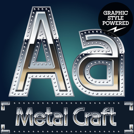 riveted: Vector set of metal aluminum alphabet with riveted border. Letter A