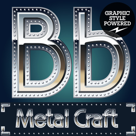 Vector set of metal aluminum alphabet with riveted border. Letter B