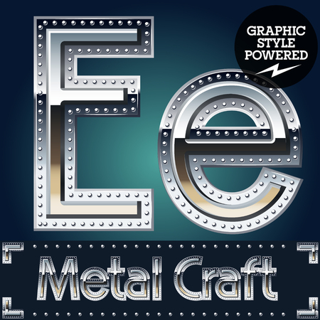 Vector set of metal aluminum alphabet with riveted border. Letter E Illustration