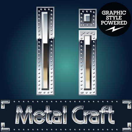 riveted metal: Vector set of metal aluminum alphabet with riveted border. Letter I