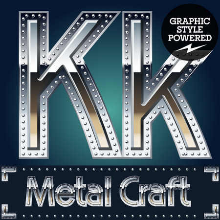 Vector set of metal aluminum alphabet with riveted border. Letter K