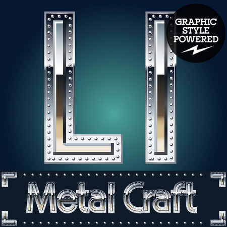 chrome letters: Vector set of metal aluminum alphabet with riveted border. Letter L