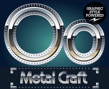 riveted metal: Vector set of metal aluminum alphabet with riveted border. Letter O Illustration