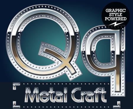 Vector set of metal aluminum alphabet with riveted border. Letter Q