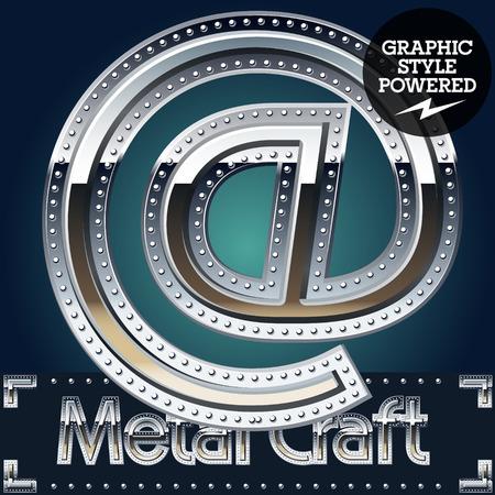 letras cromadas: Vector conjunto de aluminio de metal alfabeto con la frontera remachado. Símbolos Vectores