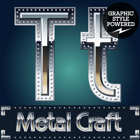 riveted metal: Vector set of metal aluminum alphabet with riveted border. Letter T