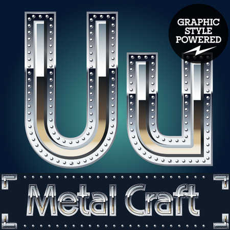 riveted: Vector set of metal aluminum alphabet with riveted border. Letter U