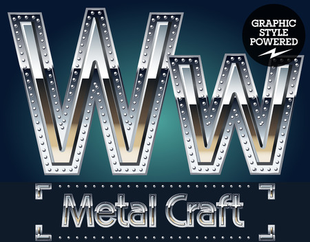 riveted: Vector set of metal aluminum alphabet with riveted border. Letter W