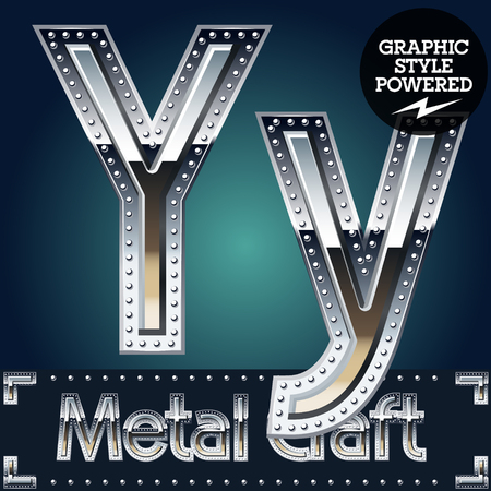 aluminum: Vector set of metal aluminum alphabet with riveted border. Letter Y Illustration