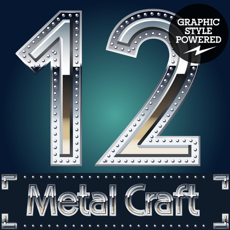 riveted metal: Vector set of metal aluminum alphabet with riveted border. Numbers  1 2