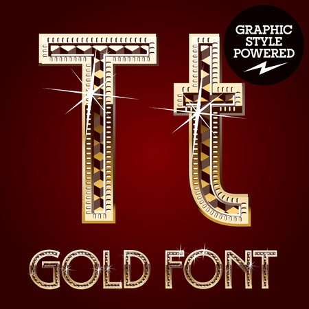 metallic letters: Vector set of gold rich alphabet with diamonds. Letter T Illustration