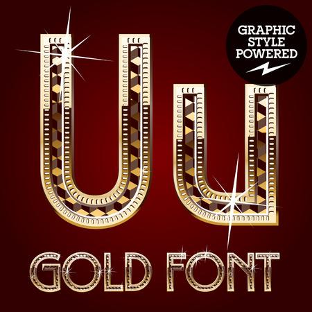 letras de oro: Vector conjunto de alfabeto de oro rico con diamantes. Letra U