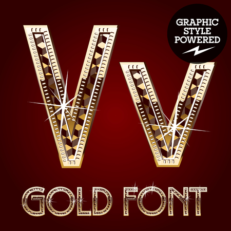 metallic letters: Vector set of gold rich alphabet with diamonds. Letter V