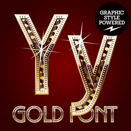 diamond letter: Vector set of gold rich alphabet with diamonds. Letter Y