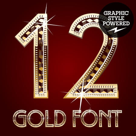 royal rich style: Vector set of gold rich alphabet with diamonds. Numbers 1 2 Illustration