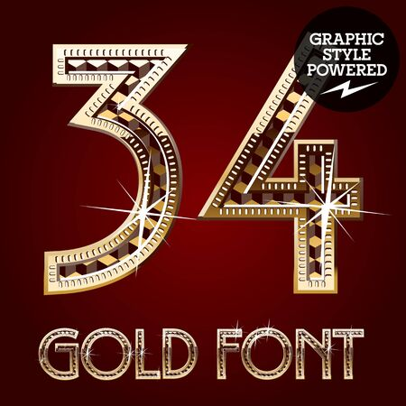 Vector set of gold rich alphabet with diamonds. Numbers 3 4 Ilustracja