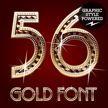 royal rich style: Vector set of gold rich alphabet with diamonds. Numbers  5 6