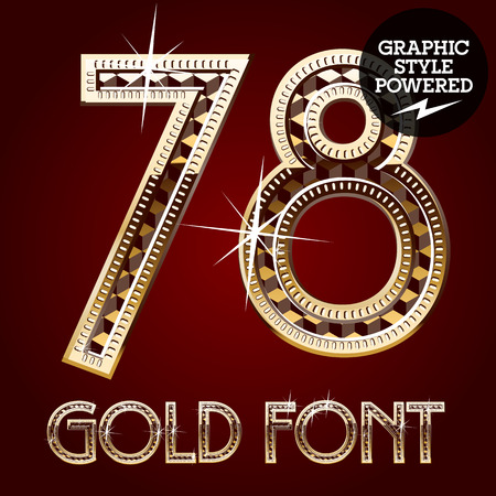 7 8: Vector set of gold rich alphabet with diamonds. Numbers 7 8