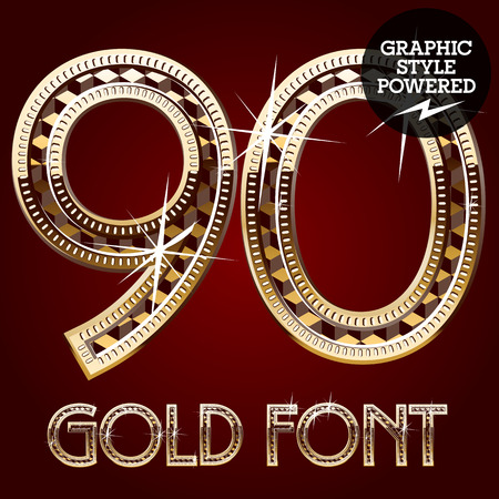 royal rich style: Vector set of gold rich alphabet with diamonds. Numbers 9 0