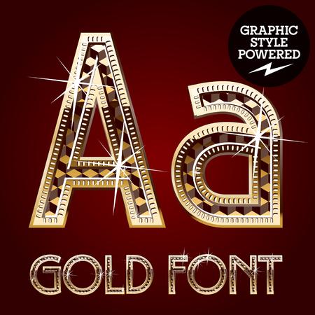 diamond letters: Vector set of gold rich alphabet with diamonds. Letter A