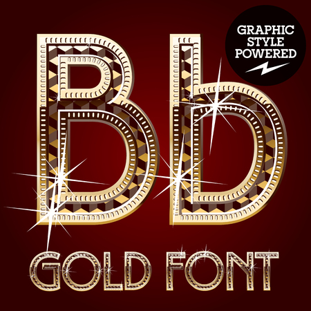 letter b: Vector set of gold rich alphabet with diamonds. Letter B