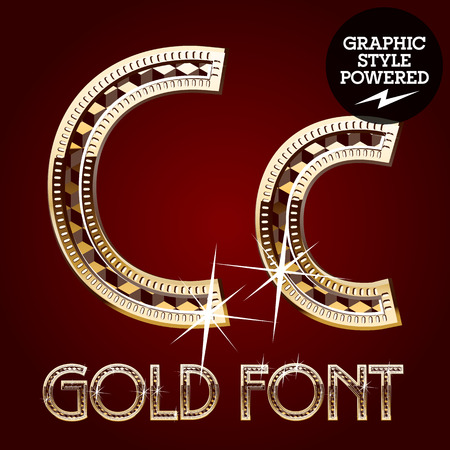 royal rich style: Vector set of gold rich alphabet with diamonds. Letter C
