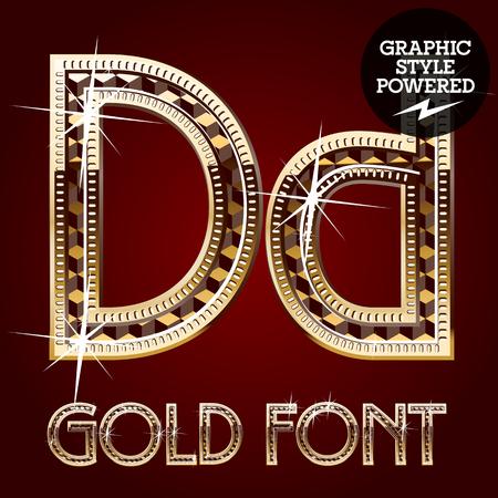 metallic letters: Vector set of gold rich alphabet with diamonds. Letter D