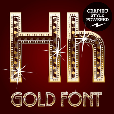 golden font: Vector set of gold rich alphabet with diamonds. Letter H Illustration