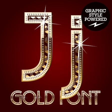 metallic letters: Vector set of gold rich alphabet with diamonds. Letter J