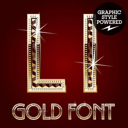 Vector set of gold rich alphabet with diamonds. Letter L