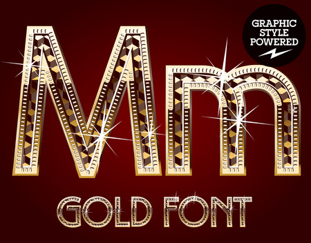 decorative letter: Vector set of gold rich alphabet with diamonds. Letter M