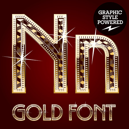 metallic letters: Vector set of gold rich alphabet with diamonds. Letter N