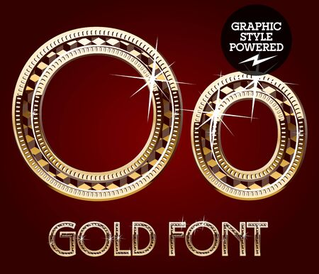 o': Vector set of gold rich alphabet with diamonds. Letter O