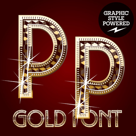metal letter: Vector set of gold rich alphabet with diamonds. Letter P