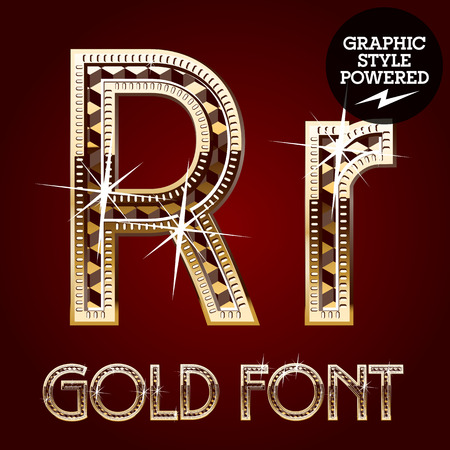 metal letter: Vector set of gold rich alphabet with diamonds. Letter R Illustration
