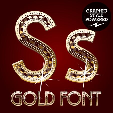 lettre s: Vector set d'or riche alphabet avec des diamants. Lettre S
