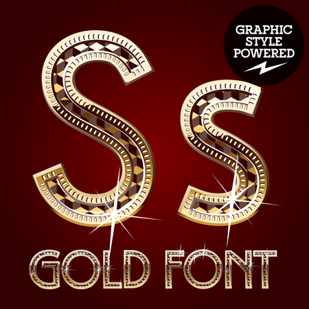 letter s: Vector set of gold rich alphabet with diamonds. Letter S