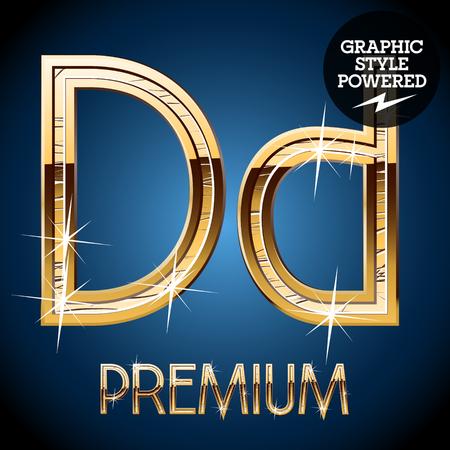 d: Golden font. Letter D