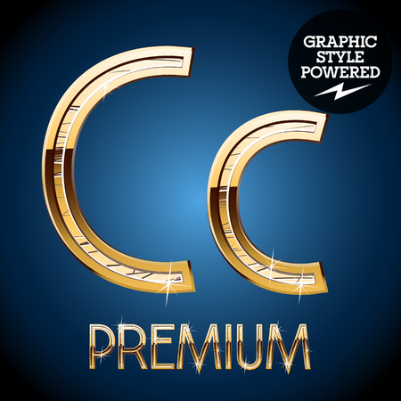 letter c: Golden font. Letter C