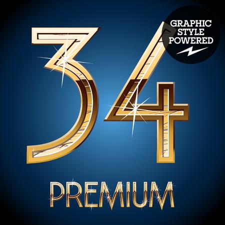 34: Golden font. Number 34