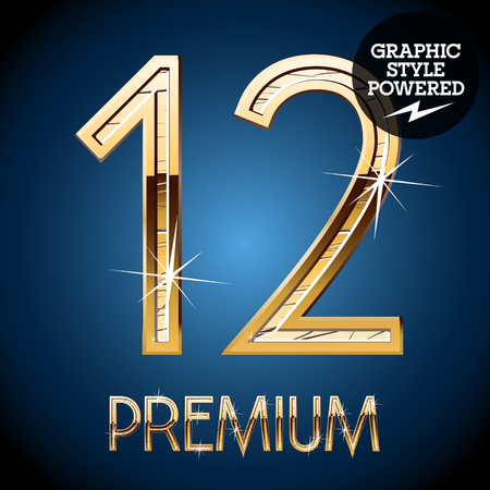 Golden font. Numbers 12