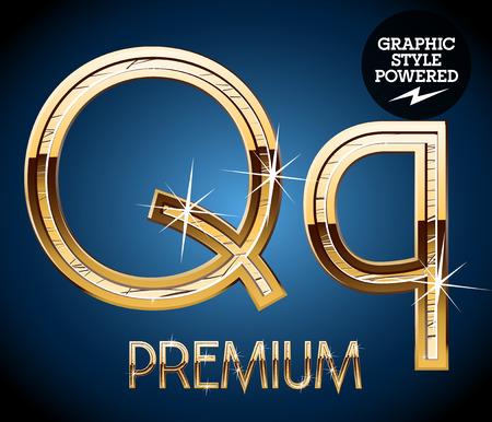 q: Golden font. Letter Q