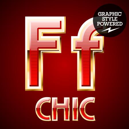 golden border: Red alphabet with golden border. Letter F